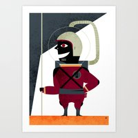 spaceman Art Prints featuring SPACEMAN by Eleonora