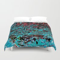 marx Duvet Covers featuring Flora Celeste Tourquoise Leaves by Meteora