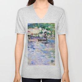 12,000pixel-500dpi - Berthe Morisot - The Port of Nice - Digital Remastered Edition Unisex V-Neck