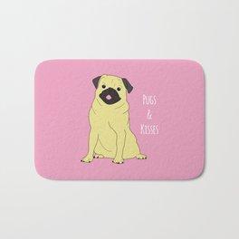 Pugs And Kisses Pink Bath Mat