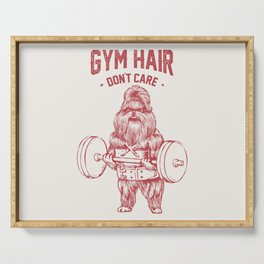 Gym hair don't care shih tzu Serving Tray