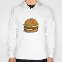 burger Hoodies featuring Burger by RedNoseBlueCheeks
