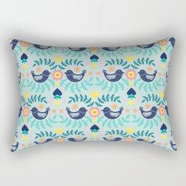 Folky Pattern Light Blue Rectangular Pillow