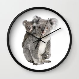 Koala bear and her baby Wall Clock
