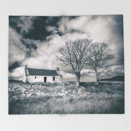 Highland Cottage, monochrome. Throw Blanket