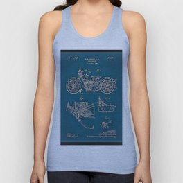 1902 Motorcycle Blueprint Patent in blue Unisex Tank Top