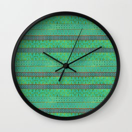 Mexican Style pattern - teal, gold and red glitter Wall Clock