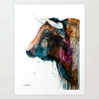bull Art Prints featuring Bull by Slaveika Aladjova
