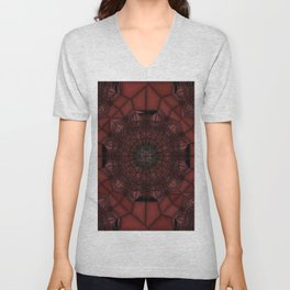 Persian Plum Wine and Chocolate Cherries Stained Glass Unisex V-Neck