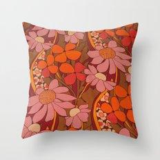 Crazy pinks 50s Flower  Throw Pillow