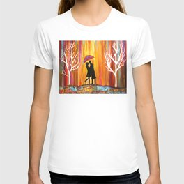 Romance in the Rain I romantic gift art T-shirt