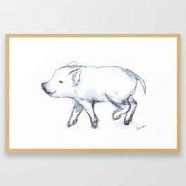 Happy Piglet Running Framed Art Print