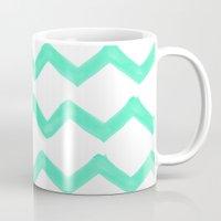 tiffany Mugs featuring Tiffany Chevron by Rebecca Allen
