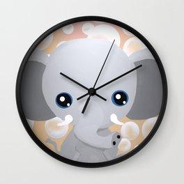Elebubbles - Chibi Elephant (Peach) Wall Clock