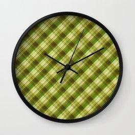 Green, olive, plaid, olive plaid, plain plaid, oblique plaid Wall Clock
