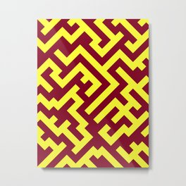 Electric Yellow and Burgundy Red Diagonal Labyrinth Metal Print