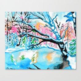 Frozen Pond Winter Landscape Canvas Print