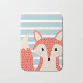Cute fox illustration with stripes blue white and orange Bath Mat