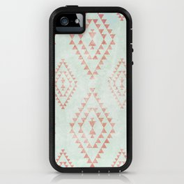 mint & coral tribal pattern iPhone Case