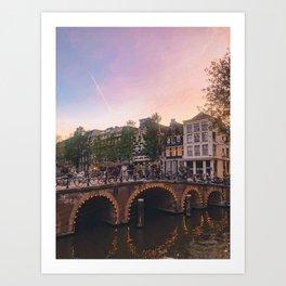 An Evening Stroll through Amsterdam Art Print