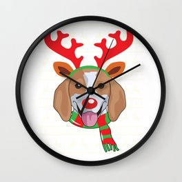 reindeerdog beagle Wall Clock