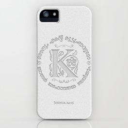 Joshua 24:15 - (Letterpress) Monogram K iPhone Case