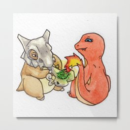 kushbone and charredmander smoke a bone Metal Print