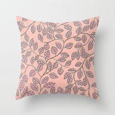 leafy pattern Throw Pillow
