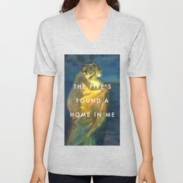 Woman Clothed with the Yellow Flicker Beat Unisex V-Neck