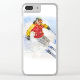 Skier, watercolor paintingon . Clear iPhone Case