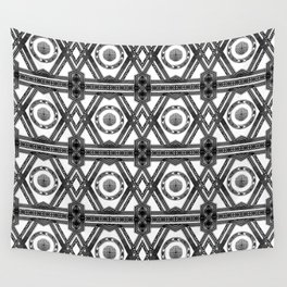 Geometric Black and White Tribal-Inspired Repeat Pattern Wall Tapestry
