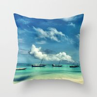 hakuna Throw Pillows featuring Hakuna Matata by Anna Andretta