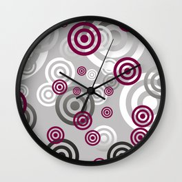 Red Silver Circles grey background Wall Clock