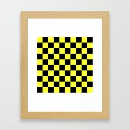 Black and Yellow Checkerboard Pattern Framed Art Print