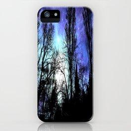 Black Trees Periwinkle Blue Lavender SPACE iPhone Case