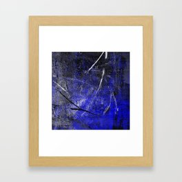 In The Dead Of Night - Textured Abstract In Blue, Black and White Framed Art Print