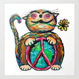 Peace Chubbycat Art Print