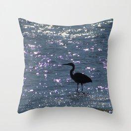 Egret Heron Silhouette Throw Pillow