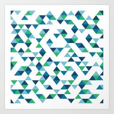 Triangles Blue and Green Art Print