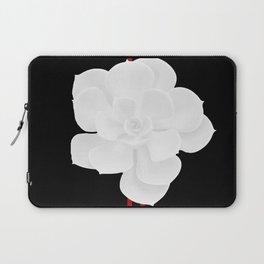 White Succulent On Black #decor #society6 #buyart Laptop Sleeve