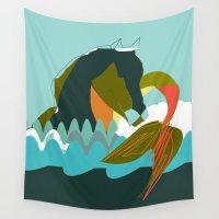 sea horse Wall Tapestries featuring Sea Horse by Federica Fernanda