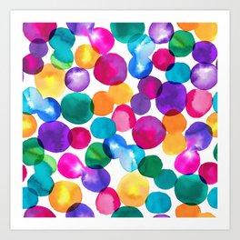 Bold & Colourful Rainbow Spot Patten Art Print