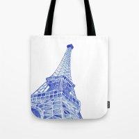 eiffel tower Tote Bags featuring Eiffel Tower by BlueShadowM