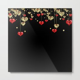 Beautiful glitter shine hearts on black Valentines Day greeting Metal Print