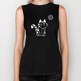 DnD Cute Cat With D20 Dungeons and Dragons Inspired Tabletop RPG Gaming Biker Tank