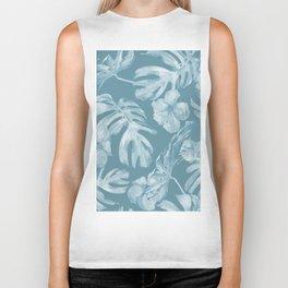 Tropical Escape Teal Blue Leaves + Hibiscus Biker Tank
