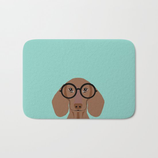 Remy - Daschund with Fashion glasses, hipster glasses, hipster dog, doxie,  Bath Mat
