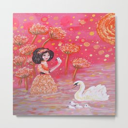 The Swan Girl Metal Print