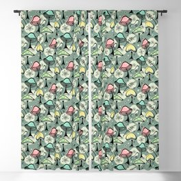 Mid Mod Mushrooms ©studioxtine Blackout Curtain
