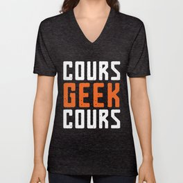 Cours Geek Cours - Logo Blanc Unisex V-Neck